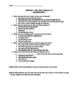 1984 Quiz Part Two Chapters 1-3