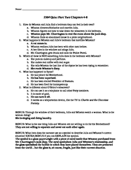 1984 Quiz Part Two Chapters 4-8
