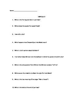 1984 Reading Quizzes