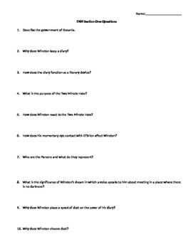 1984 SECTION ONE COMPREHENSIVE READING QUESTIONS