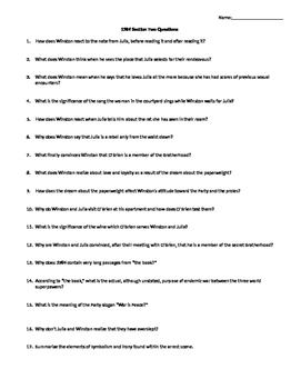 1984 SECTION TWO COMPREHENSIVE READING QUESTIONS