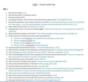 1984 Study Guide with Key