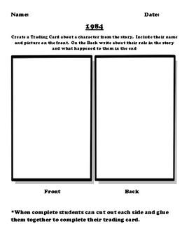 """1984"" Trading Card Worksheet"