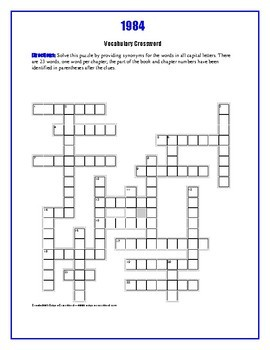 1984: Vocabulary Crossword—One word per chapter