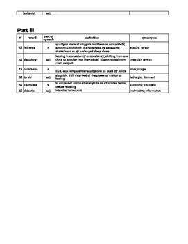 1984 Vocabulary Parts I, II, and III