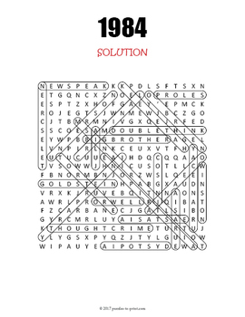 George Orwell 1984 Word Search Puzzle