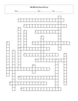 1988-2008 Time Person of the Year Crossword with Key
