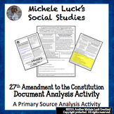 1992 27th Amendment to Constitution Document Analysis Activity Congressional Pay