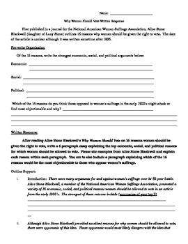 th amendment essay by b lacenski teachers pay teachers 19th amendment essay