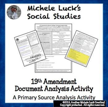 19th Amendment Suffrage for Women Document Analysis Activity