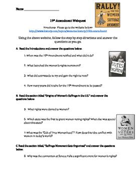 19th Amendment: Women's Suffrage Webquest