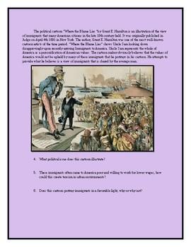 19th Century Immigration Political Cartoon Worksheet