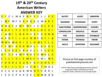 19th and 20th Century American Writers-Authors Word Search-Great for librarians!
