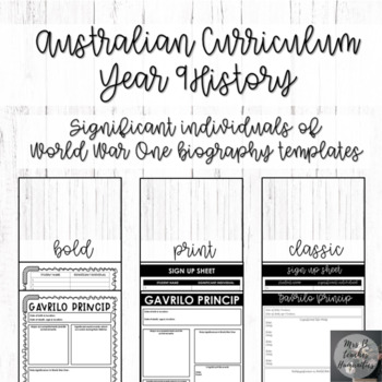 Australian Curriculum-Year 9 History-Significant individuals of WW1 biography