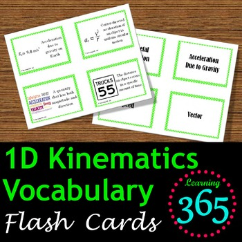 1D Kinematics Vocabulary Flash Cards