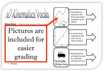 1D Kinematics Vocabulary for Interactive Notebooks