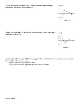 1D and 2D Kinematics Test and Review