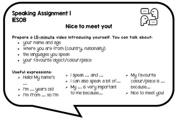 1ESO Smart Planet complimentary speaking task card