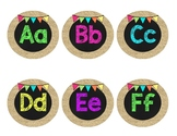 Action 100 1G, 2G & 1B Word Wall Labels and Words Burlap & Chalkboard Theme