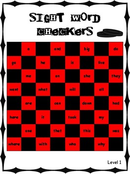 IRLA Aligned Sight Word Checkers Level 1