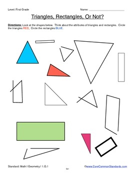 1.G.1 First Grade Common Core Worksheets, Activity, and Poster