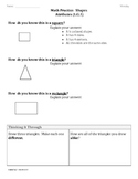 (1.G.1) Shape Attributes-1st Grade Common Core Math Worksheets-3rd 9 Weeks