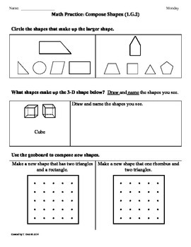 1G2 Compose Shapes 1st by Tonya Gent  Teachers Pay Teachers