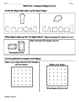 (1.G.2) Compose Shapes -1st Grade Common Core Math Worksheets-4th 9 Weeks