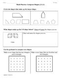 (1.G.2) Compose Shapes -1st Grade Common Core Math Worksheets