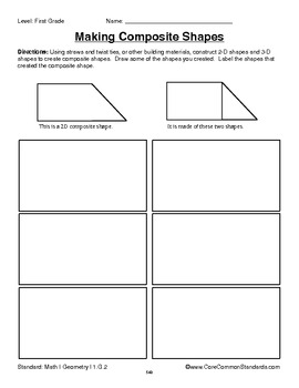 1.G.2 First Grade Common Core Worksheets, Activity, and Poster
