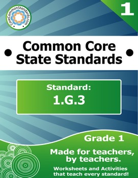 1.G.3 First Grade Common Core Bundle - Worksheet, Activity, Poster, Assessment