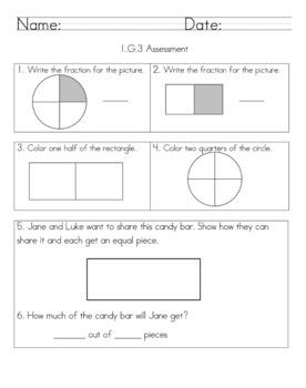 1.G.3 First Grade Geometry Fractions Assessment