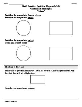 (1.G.3) Partition Shapes -1st Grade Common Core Math Works