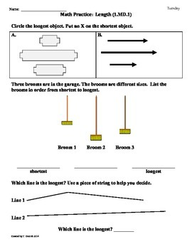 (1.MD.1) Compare Length -1st Grade Common Core Math Worksheets-1st 9 Weeks