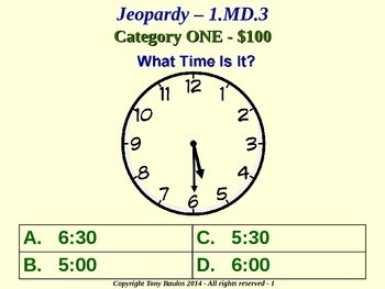 1.MD.3 1st Grade Math Jeopardy Game - Tell time in hours and half-hours.