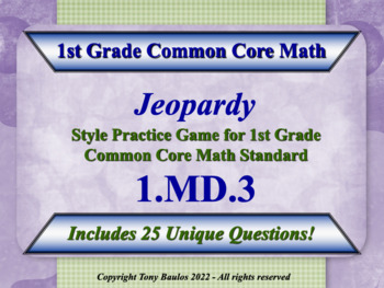 1.MD.3 1st Grade Math Jeopardy Game - Tell time in hours a
