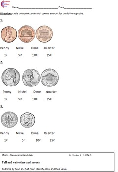 1.MD.3 Money Identifying Coins First Grade Math Common Core Worksheets 1.MD.B.3