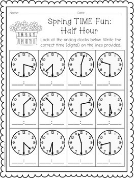 1.MD.3 Telling Time Math Center for Spring