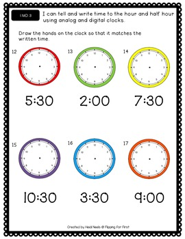 1.MD.3 Tell and Write Time to the Hour and Half Hour Performance Assessment