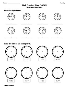 (1.MD.3) Time: Hour and Half Hour -1st Grade Common Core Worksheets-4th 9 Weeks