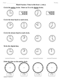 (1.MD.3) Time to the hour - 1st Grade Common Core Math Worksheets-2nd 9 Weeks