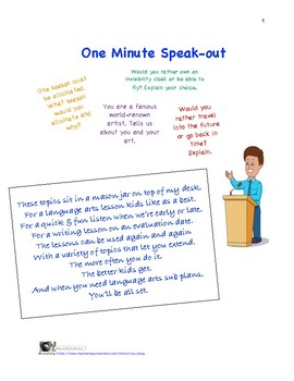 1Minute Speak-Out: Writing and Speaking Activity with Less