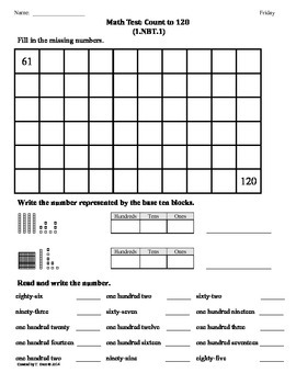 (1.NBT.1) Count to 120 -1st Grade Common Core Math Worksheets-3rd 9 Weeks