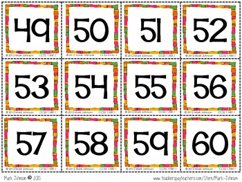 1.NBT.1 Counting Charts and Numeral Cards 0 - 120