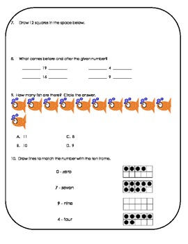 1.NBT.1 First Grade Counting Assessment & Practice