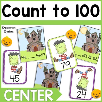 1.NBT.1 Halloween Counting to 100 Math Center
