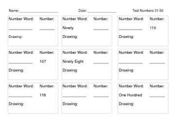 1.NBT.1 - Numbers 90-120 Assessment