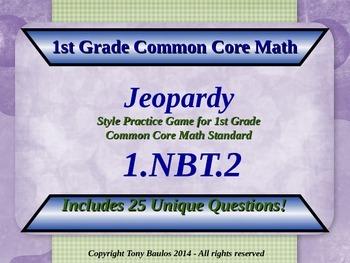 1.NBT.2 1st Grade Math Jeopardy Game - Understand Place Value