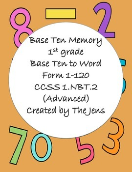 1.NBT.2- Base Ten Picture to Word Memory - Advanced