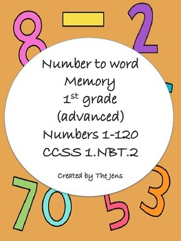 1.NBT.2- Number to Word Memory - Advanced